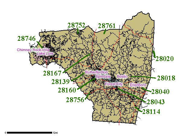 Rutherford County Zip Code Map